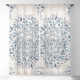Indigo Leaves Mandala Sheer Curtain