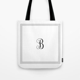 Monogram Letter B in Black with Triple Border Tote Bag
