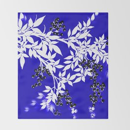 LEAF AND TREE BRANCHES BLUE AD WHITE BLACK BERRIES Throw Blanket