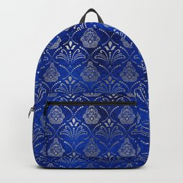 Hamsa Hand pattern -silver on blue glass Backpack