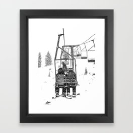 Snow Lift // Ski Chair Lift Colorado Mountains Black and White Snowboarding Vibes Photography Framed Art Print