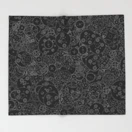 Clockwork B&W inverted / Cogs and clockwork parts lineart pattern Throw Blanket
