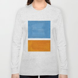 Rothko Minimalist Abstract Mid Century Color Black Square Periwinkle Yellow Ochre Long Sleeve T-shirt
