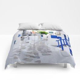 Beautiful Whitewashed Street Mykonos Greece Comforters