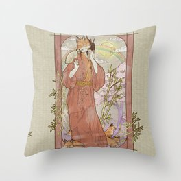 Kitsune Masquerade Throw Pillow