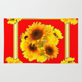 RED YELLOW SUNFLOWER BOUQUETS ART Rug