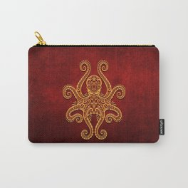 Intricate Red and Yellow Octopus Carry-All Pouch