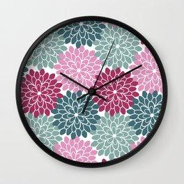 Petals in Rose, Maroon and Light and Dark Cyan Wall Clock