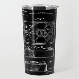 Turntable Patent - White on Black Travel Mug