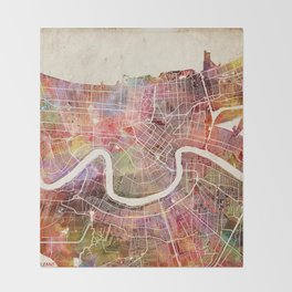 New Orleans map Throw Blanket