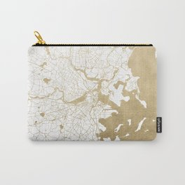 Boston White and Gold Map Carry-All Pouch