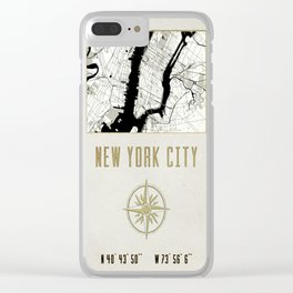 New York City Vintage Location Design Clear iPhone Case