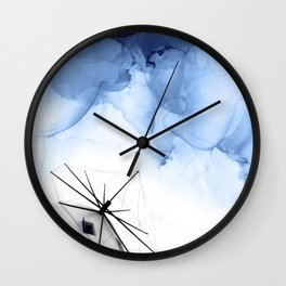 Blue Abstract Painting, Windmill Photography Wall Clock