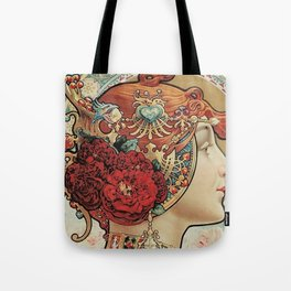 Lady With Flowers - Alphonse Mucha Tote Bag
