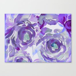Purple Haze Painterly Floral Abstract Canvas Print