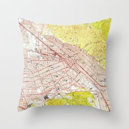 Vintage Map of Burbank California (1953) Throw Pillow