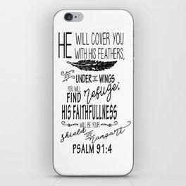 Psalm 91:4 Christian Bible Verse Typography Design iPhone Skin