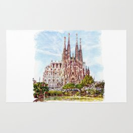 La Sagrada Familia watercolor Rug