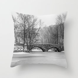 Stone Bridge at Clove Lakes Staten Island Throw Pillow