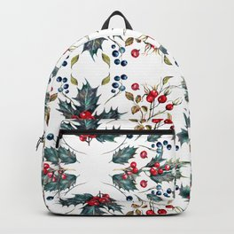 Christmas Pattern Pine Cones Pine Branches Holly Berries Leaves Backpack