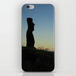 Moai statue ahu akapu at sunset, easter island iPhone Skin