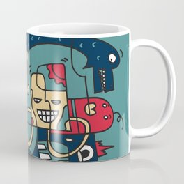 Turkoise Doodle Monster World by Pablo Rodriguez (Pabzoide) Coffee Mug