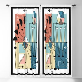 Colorful Mid Century Geometric Abstract Blackout Curtain