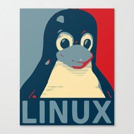 Linux tux Penguin poster head red blue  Canvas Print