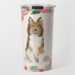 Sheltie floral wreath dog breed shetland sheepdog pet portrait Travel Mug
