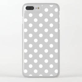 Polka Dots (White & Gray Pattern) Clear iPhone Case