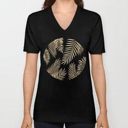 Gold palm leaves Unisex V-Neck
