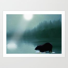 Stepping Into The Moonlight - Black Bear and Moonlit Lake Art Print