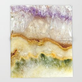 Striated Amethyst in Purple Gold & Green Throw Blanket