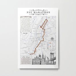New York City Black & White {marathon course} map 26.2 Metal Print