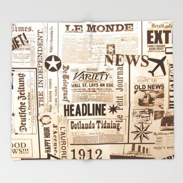 Vintage Newspaper Ads Black and White Typography Throw Blanket