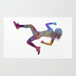 woman runner running jogger jogging silhouette 01 Rug