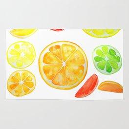 colorful citrus fruit watercolor Rug