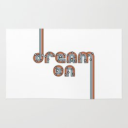Dream On - Colorful Retro Type with Stars Rug