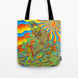 Psychedelic Rainbow Trout Fish Tote Bag