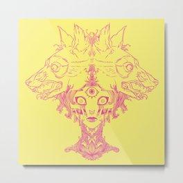 Voodoo Priestess Mambo With Third Eye And Wolves Surrealism Art Metal Print