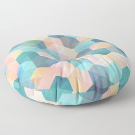 Child's Play 2 - hexagon pattern in soft blue, pink, peach & aqua Floor Pillow