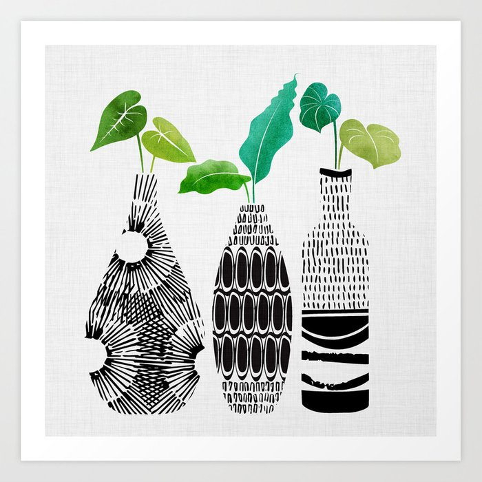 Black and White Tribal Vases Kunstdrucke