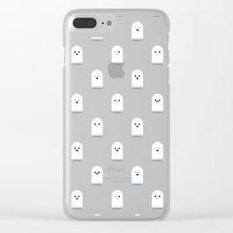 Cute Ghost Pattern - Blue Clear iPhone Case