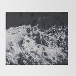 OCEAN - WAVES - SEA - ROCKS - DARK - WATER Throw Blanket