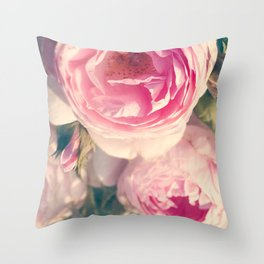 Shabby Chic Flowers, Ranunculus Roses, Spring, Romantic Floral Decor Throw Pillow