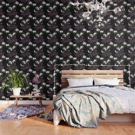 Blackberry Spring Garden Night - Birds and Bees on Black Wallpaper