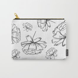 Hand Drawn Peonies Carry-All Pouch