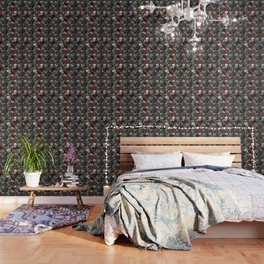 Distressed Floral with Skulls Pattern Wallpaper