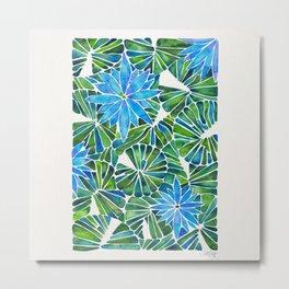 Water Lilies – Blue & Green Palette Metal Print
