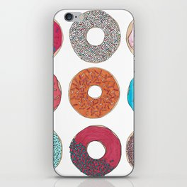 Colourful, illustrated, glazed, sprinkle Donut pattern iPhone Skin